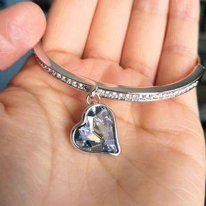 Brand new crystal heart bangle bracelet